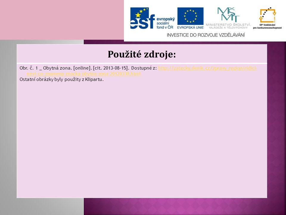 Použité zdroje: Obr. č. 1 _ Obytná zona. [online]. [cit. 2013-08-15]. Dostupné z: http://zatecky.denik.cz/zpravy_region/ridici- nevi-co-znamena-znacka