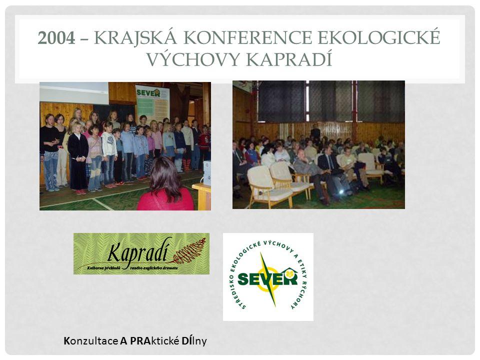 2004 – KRAJSKÁ KONFERENCE EKOLOGICKÉ VÝCHOVY KAPRADÍ Konzultace A PRAktické DÍlny