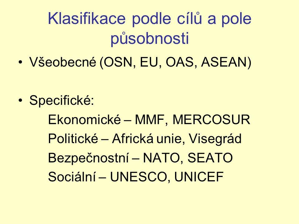 Klasifikace podle cílů a pole působnosti Všeobecné (OSN, EU, OAS, ASEAN) Specifické: Ekonomické – MMF, MERCOSUR Politické – Africká unie, Visegrád Bez