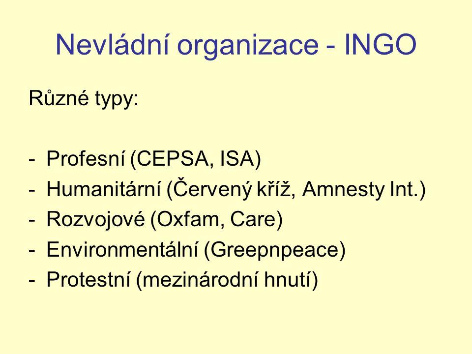 Nevládní organizace - INGO Různé typy: -Profesní (CEPSA, ISA) -Humanitární (Červený kříž, Amnesty Int.) -Rozvojové (Oxfam, Care) -Environmentální (Gre