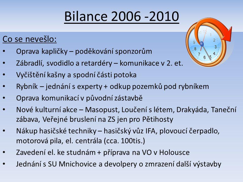 Bilance 2006 -2010 Co se nevešlo: Oprava kapličky – poděkování sponzorům Zábradlí, svodidlo a retardéry – komunikace v 2.