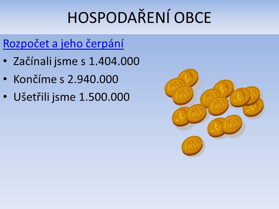 HOSPODAŘENÍ OBCE Rozpočet a jeho čerpání Začínali jsme s 1.404.000 Končíme s 2.940.000 Ušetřili jsme 1.500.000