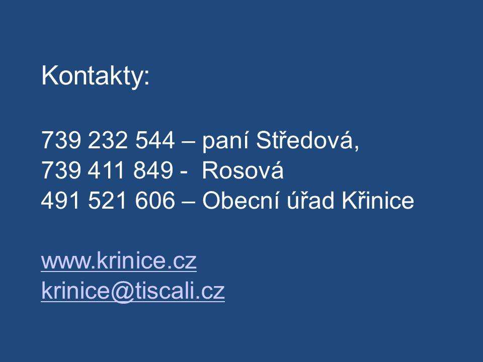 Kontakty: 739 232 544 – paní Středová, 739 411 849 - Rosová 491 521 606 – Obecní úřad Křinice www.krinice.cz krinice@tiscali.cz