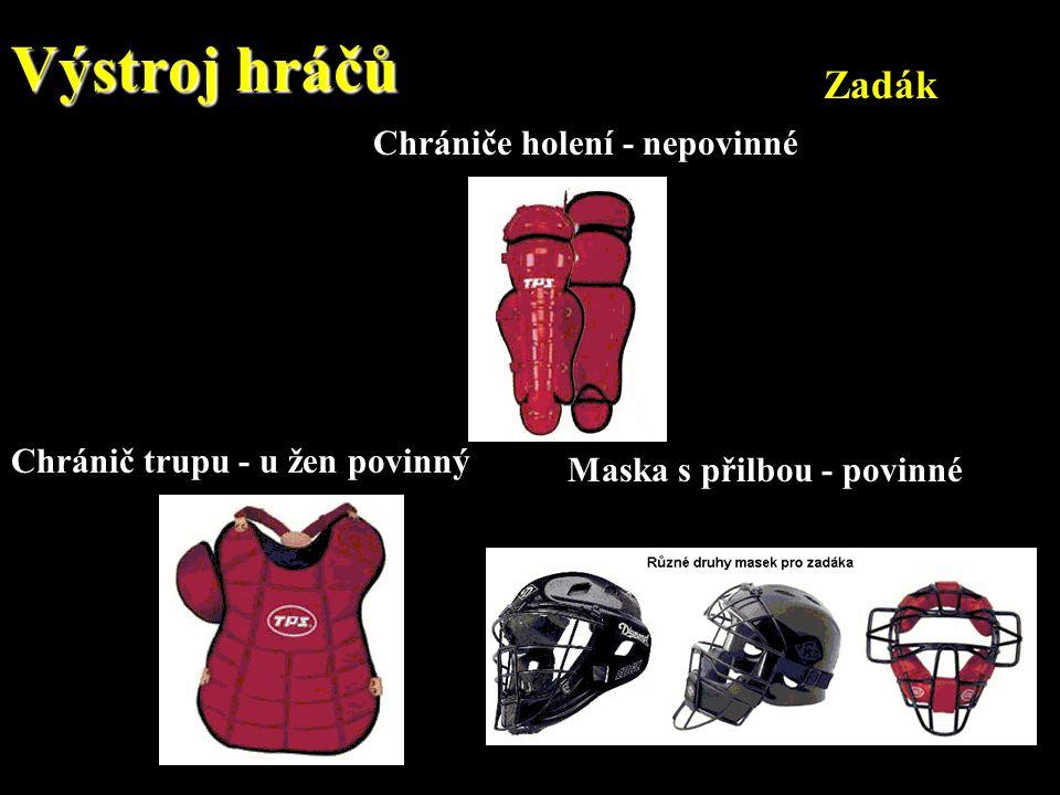 Výstroj hráčů Zadák Chrániče holení - nepovinné Chránič trupu - u žen povinný Maska s přilbou - povinné