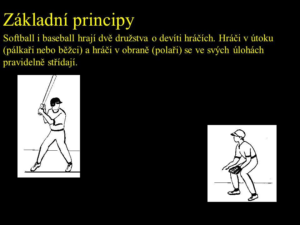 Základní principy Softball i baseball hrají dvě družstva o devíti hráčích.