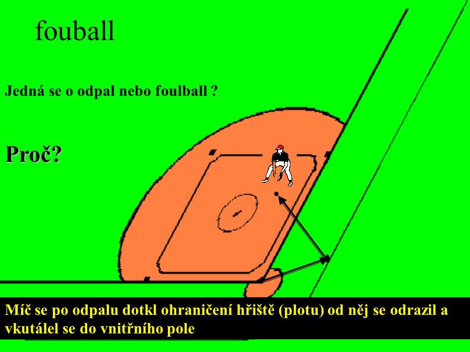 fouball Míč se po odpalu dotkl ohraničení hřiště (plotu) od něj se odrazil a vkutálel se do vnitřního pole Jedná se o odpal nebo foulball .