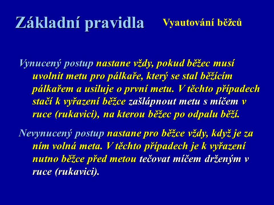 Základní pravidla Vyautování běžců Vynucený postup nastane vždy, pokud běžec musí uvolnit metu pro pálkaře, který se stal běžícím pálkařem a usiluje o první metu.