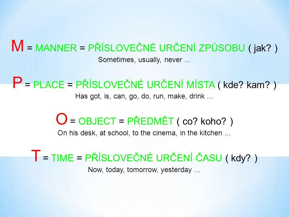 M = MANNER = PŘÍSLOVEČNÉ URČENÍ ZPŮSOBU ( jak.) Sometimes, usually, never...