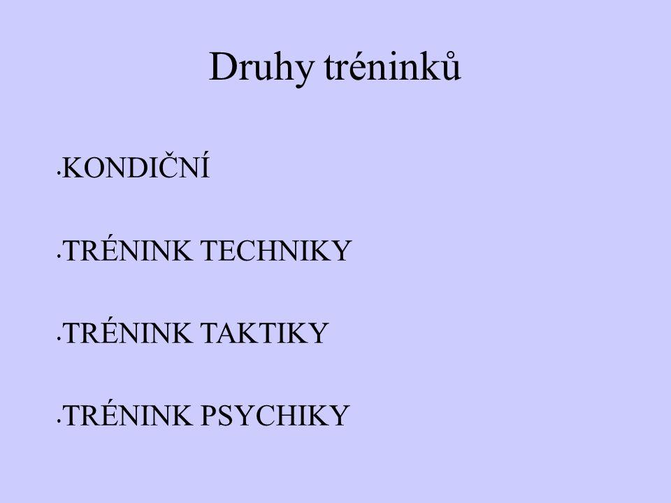 Druhy tréninků KONDIČNÍ TRÉNINK TECHNIKY TRÉNINK TAKTIKY TRÉNINK PSYCHIKY