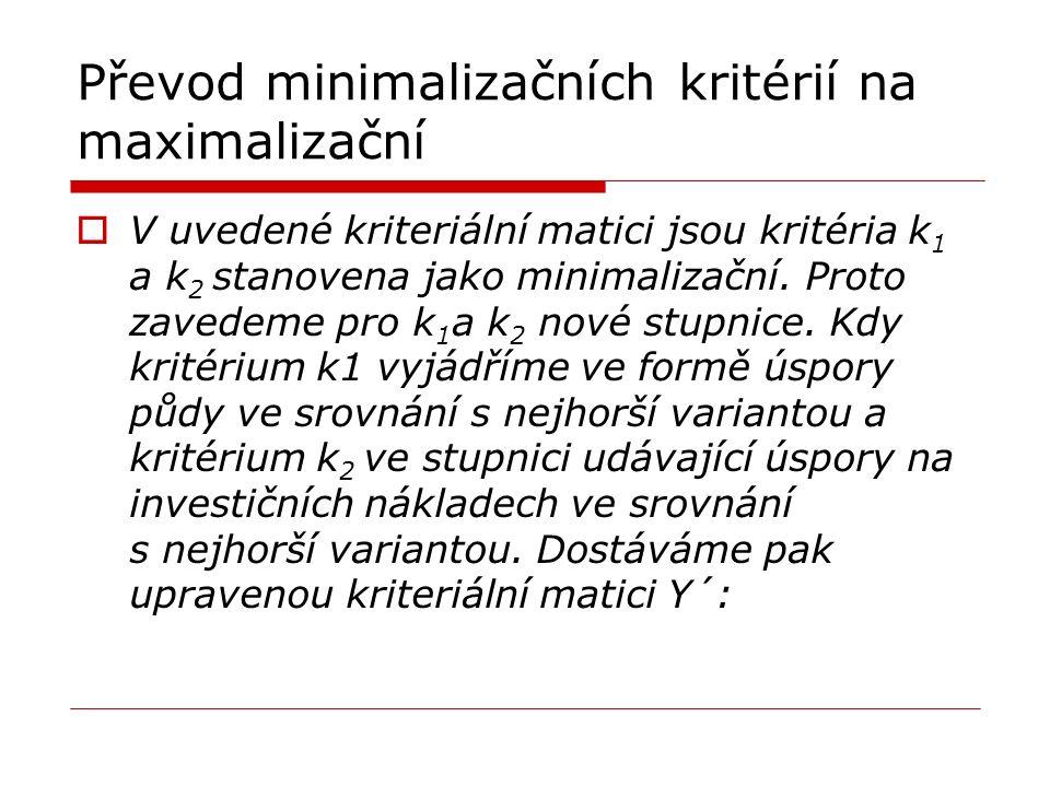 Převod minimalizačních kritérií na maximalizační  V uvedené kriteriální matici jsou kritéria k 1 a k 2 stanovena jako minimalizační. Proto zavedeme p