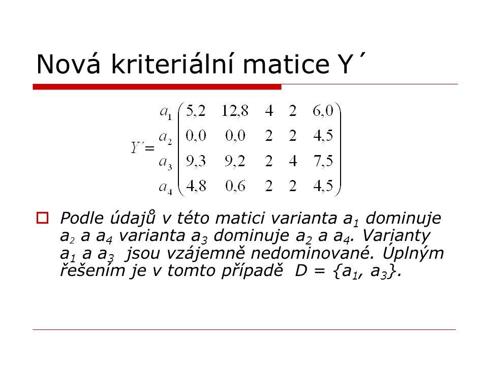 Nová kriteriální matice Y´  Podle údajů v této matici varianta a 1 dominuje a 2 a a 4 varianta a 3 dominuje a 2 a a 4. Varianty a 1 a a 3 jsou vzájem