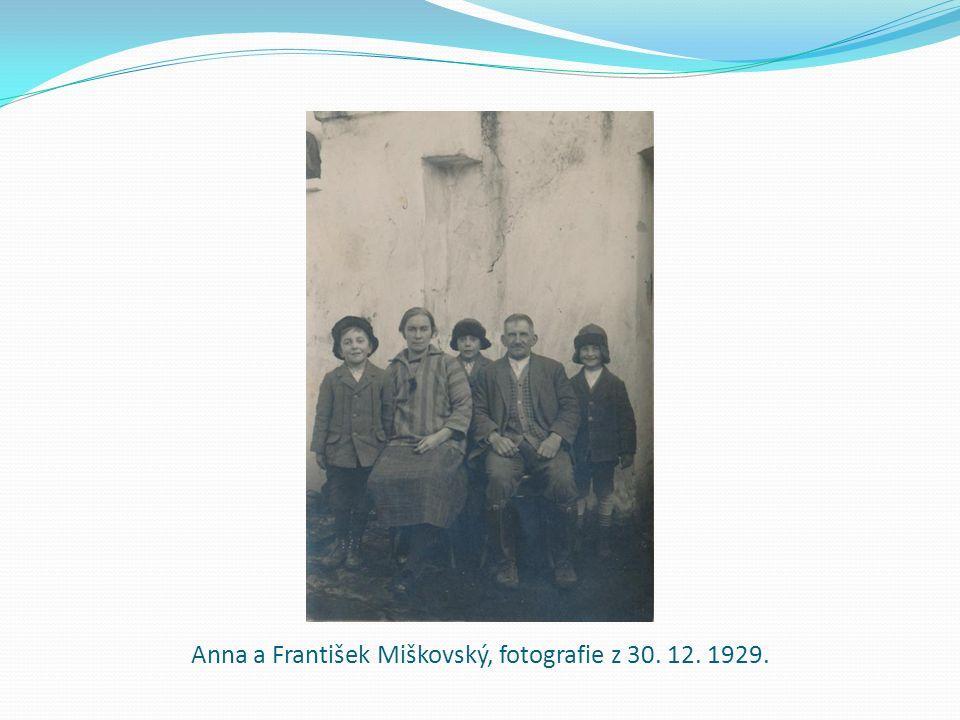 Anna a František Miškovský, fotografie z 30. 12. 1929.