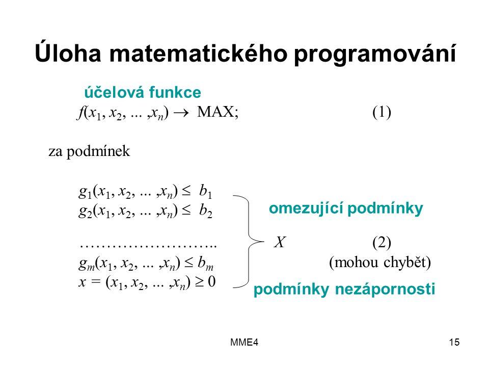 MME415 Úloha matematického programování f(x 1, x 2,...,x n )  MAX; (1) za podmínek g 1 (x 1, x 2,...,x n )  b 1 g 2 (x 1, x 2,...,x n )  b 2 ……………………..X(2) g m (x 1, x 2,...,x n )  b m (mohou chybět) x = (x 1, x 2,...,x n )  0 účelová funkce omezující podmínky podmínky nezápornosti