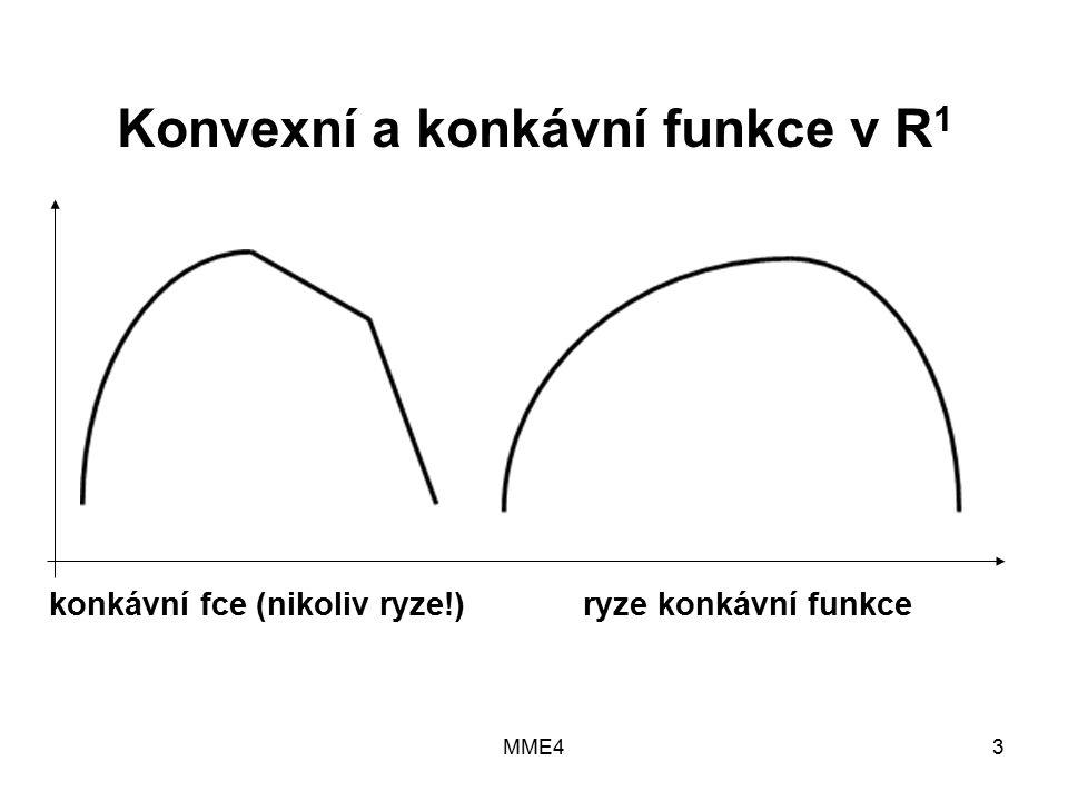 MME43 Konvexní a konkávní funkce v R 1 konkávní fce (nikoliv ryze!) ryze konkávní funkce