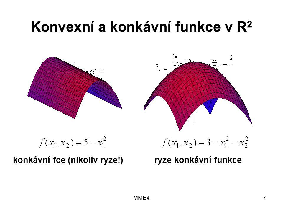 MME47 Konvexní a konkávní funkce v R 2 konkávní fce (nikoliv ryze!) ryze konkávní funkce