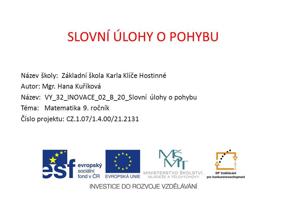 AutorMgr.Hana Kuříková Vytvořeno dne18. 3. 2012 Odpilotováno dne11.