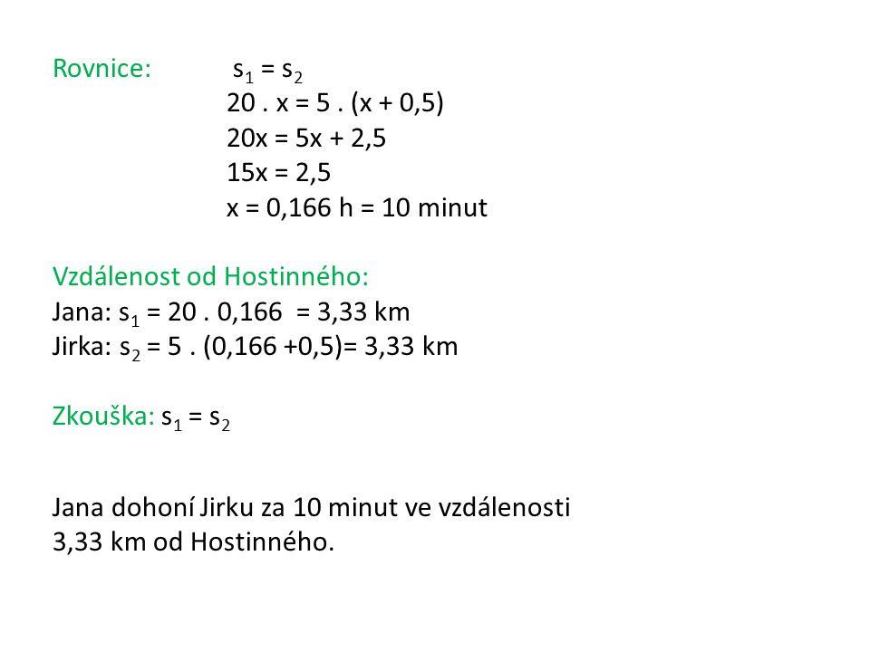 Rovnice: s 1 = s 2 20.x = 5.