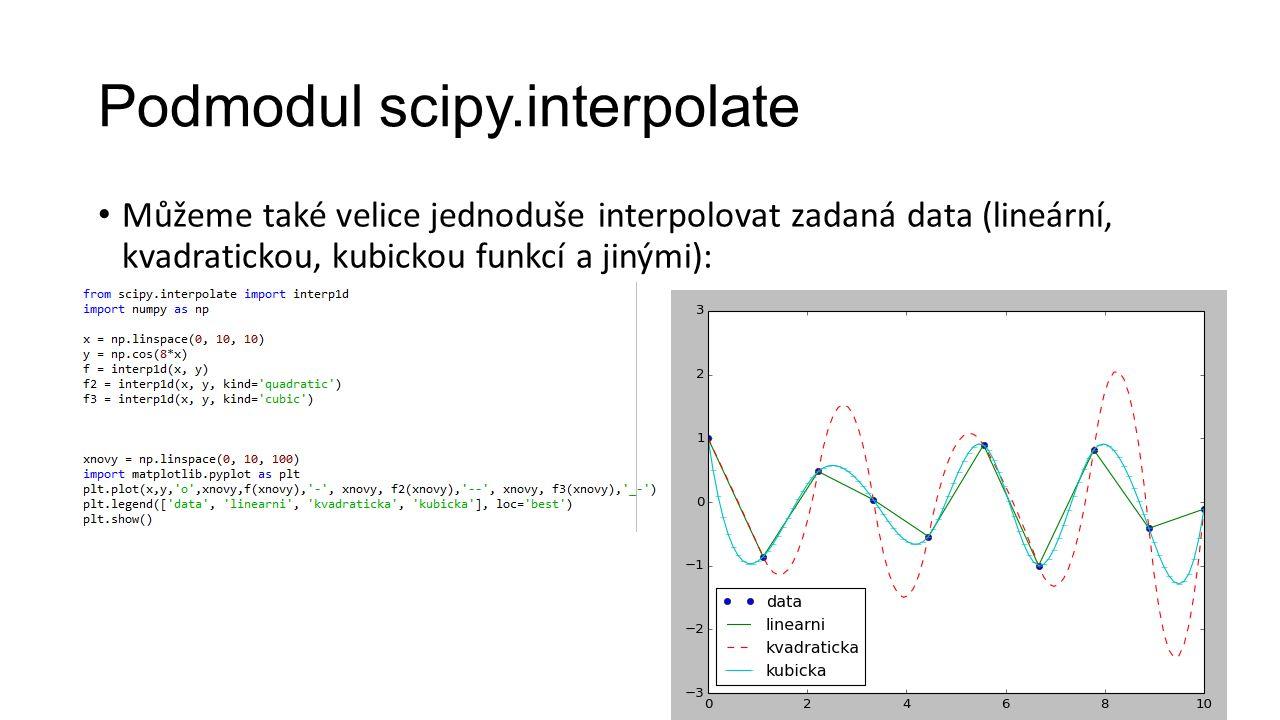 Podmodul scipy.interpolate Můžeme také velice jednoduše interpolovat zadaná data (lineární, kvadratickou, kubickou funkcí a jinými):