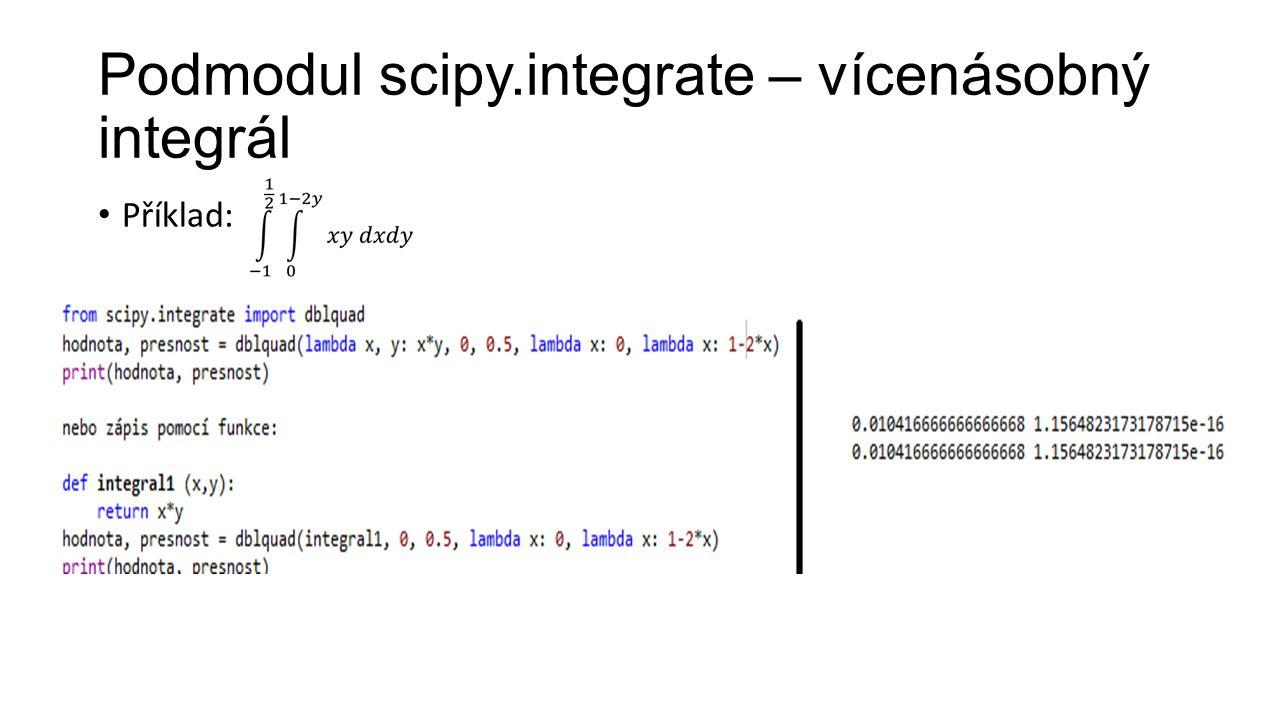 Podmodul scipy.integrate – vícenásobný integrál Příklad: