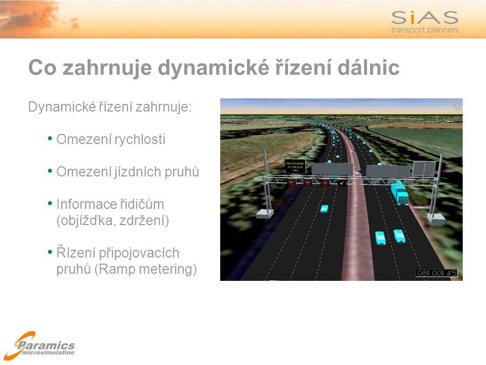 Co zahrnuje dynamické řízení dálnic Dynamické řízení zahrnuje: Omezení rychlosti Omezení jízdních pruhů Informace řidičům (objížďka, zdržení) Řízení připojovacích pruhů (Ramp metering)