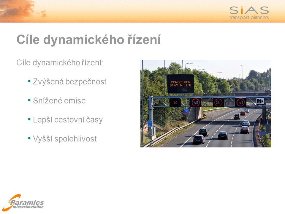 Cíle dynamického řízení Cíle dynamického řízení: Zvýšená bezpečnost Snížené emise Lepší cestovní časy Vyšší spolehlivost