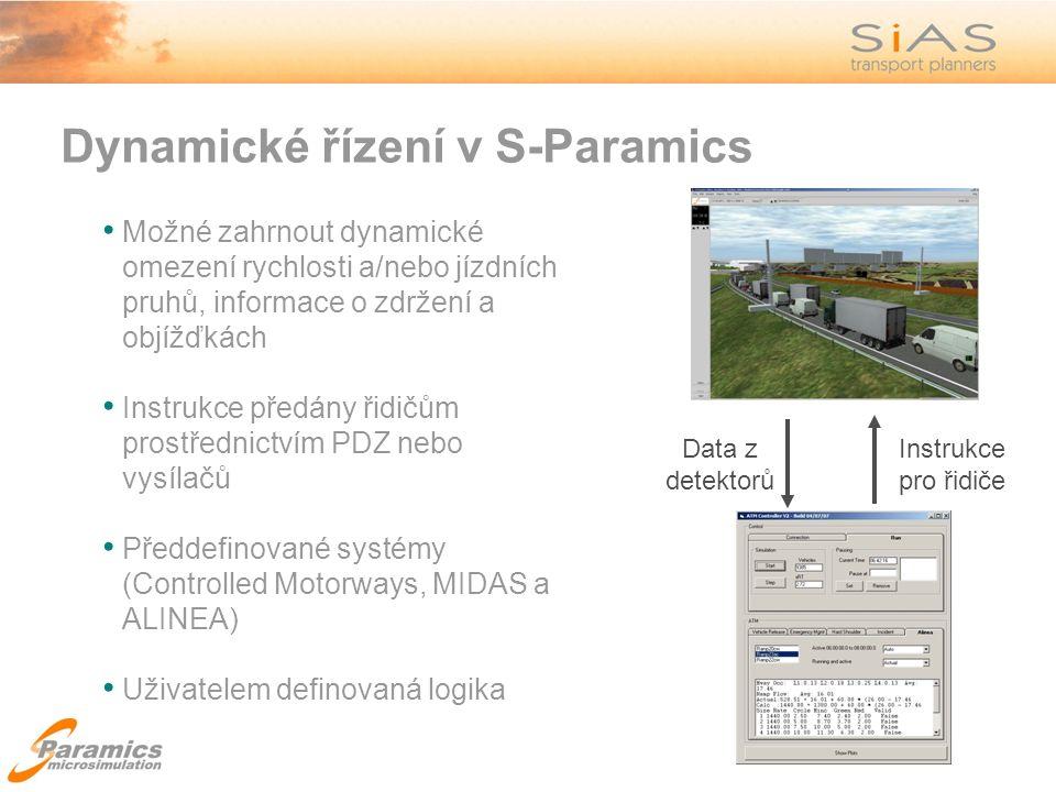 Dynamické řízení v S-Paramics Data z detektorů Instrukce pro řidiče Možné zahrnout dynamické omezení rychlosti a/nebo jízdních pruhů, informace o zdržení a objížďkách Instrukce předány řidičům prostřednictvím PDZ nebo vysílačů Předdefinované systémy (Controlled Motorways, MIDAS a ALINEA) Uživatelem definovaná logika