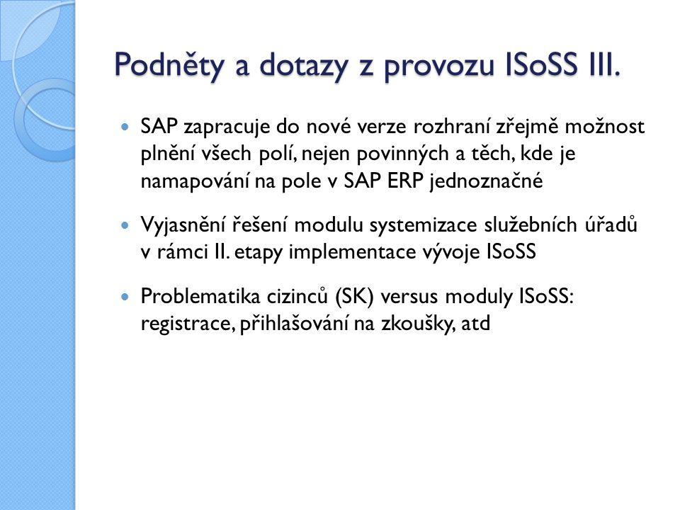 Podněty a dotazy z provozu ISoSS III. SAP zapracuje do nové verze rozhraní zřejmě možnost plnění všech polí, nejen povinných a těch, kde je namapování