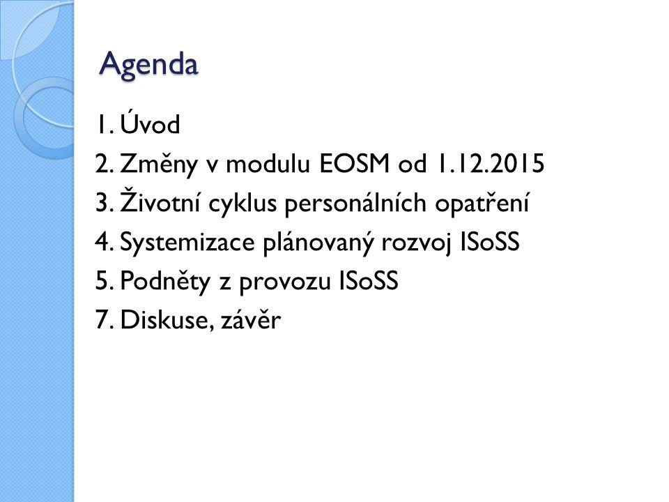 Agenda 1. Úvod 2. Změny v modulu EOSM od 1.12.2015 3. Životní cyklus personálních opatření 4. Systemizace plánovaný rozvoj ISoSS 5. Podněty z provozu
