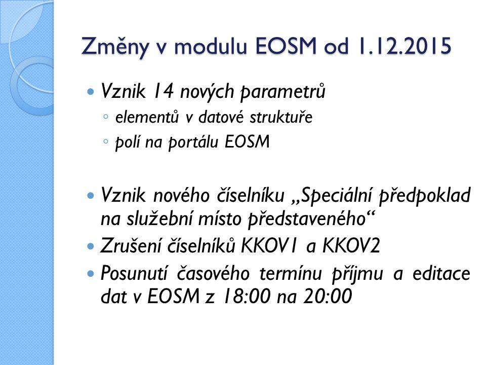 """Změny v modulu EOSM od 1.12.2015 Vznik 14 nových parametrů ◦ elementů v datové struktuře ◦ polí na portálu EOSM Vznik nového číselníku """"Speciální před"""