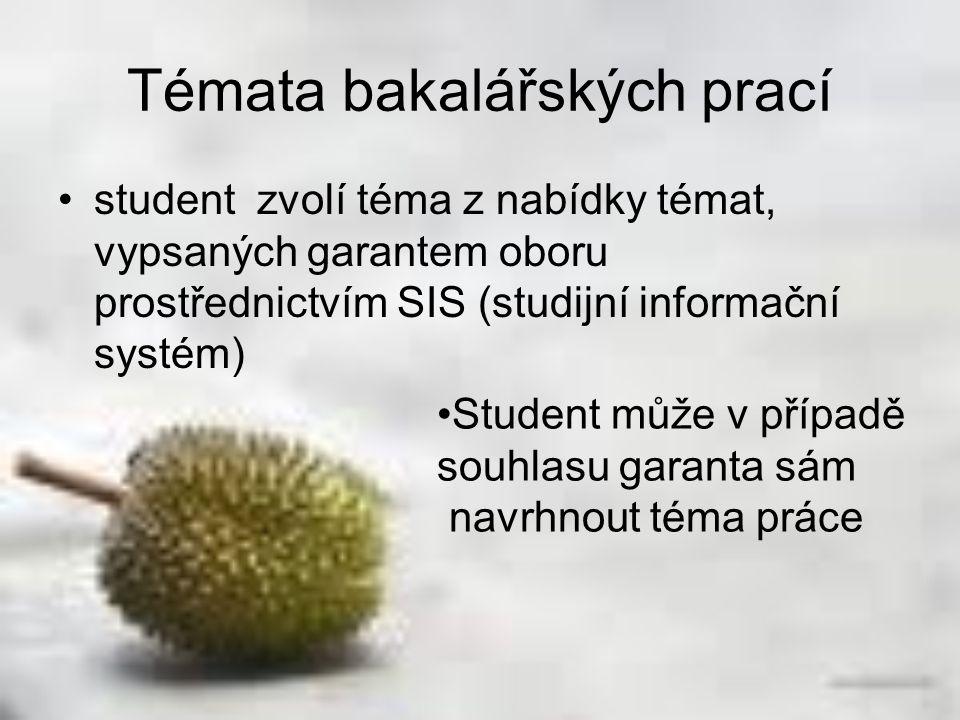 Témata bakalářských prací student zvolí téma z nabídky témat, vypsaných garantem oboru prostřednictvím SIS (studijní informační systém) Student může v