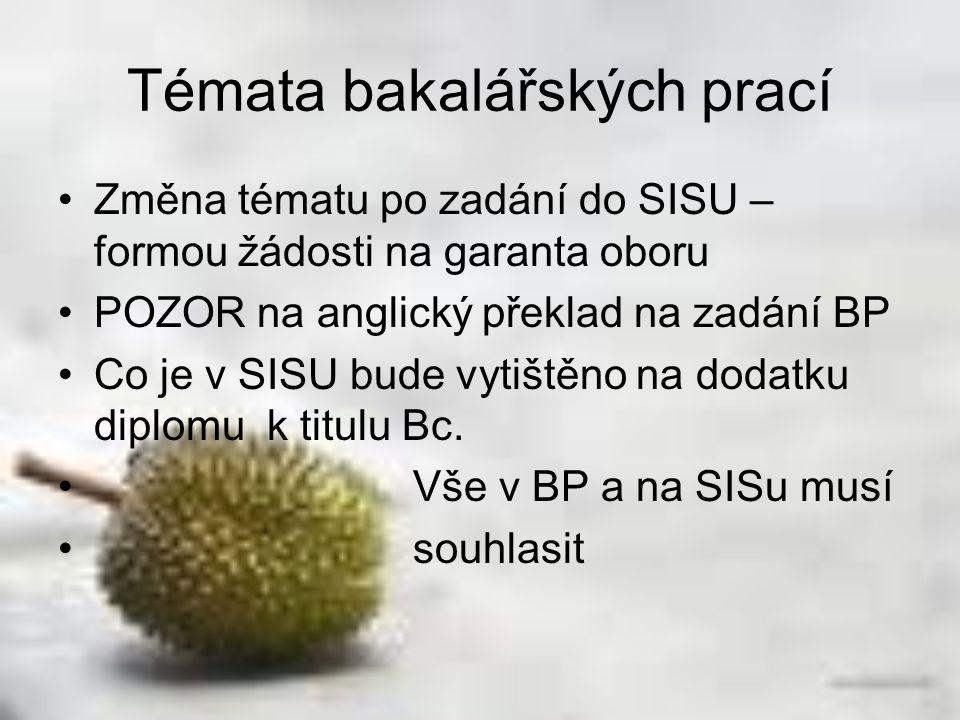 Změna tématu po zadání do SISU – formou žádosti na garanta oboru POZOR na anglický překlad na zadání BP Co je v SISU bude vytištěno na dodatku diplomu