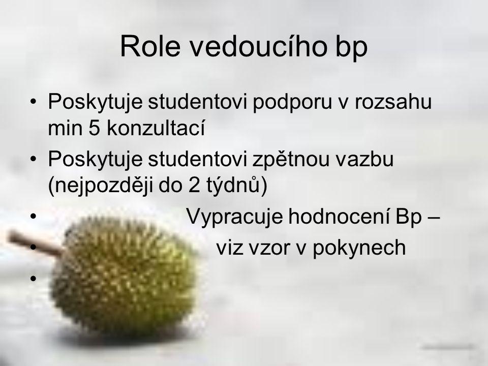 Role vedoucího bp Poskytuje studentovi podporu v rozsahu min 5 konzultací Poskytuje studentovi zpětnou vazbu (nejpozději do 2 týdnů) Vypracuje hodnoce