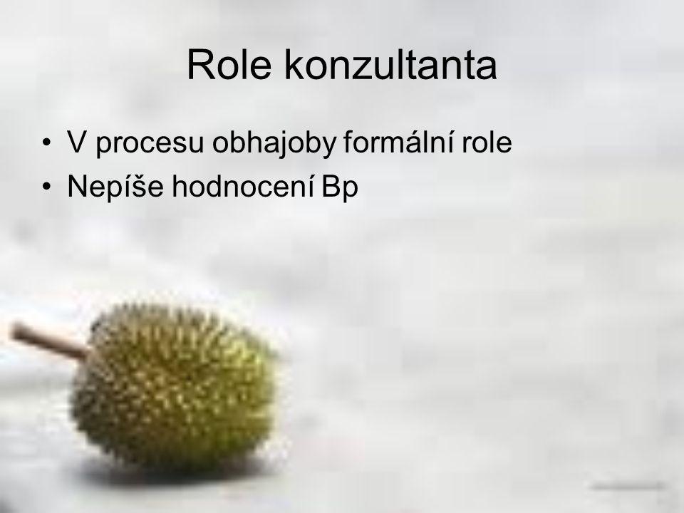 Role konzultanta V procesu obhajoby formální role Nepíše hodnocení Bp