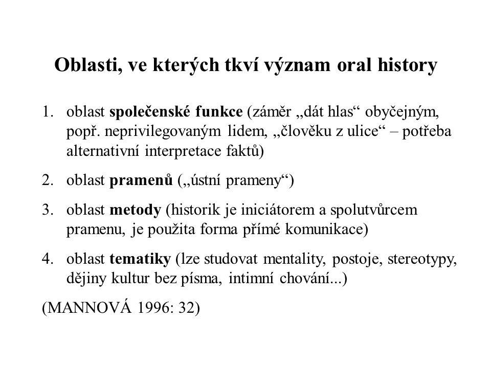 """Oblasti, ve kterých tkví význam oral history 1.oblast společenské funkce (záměr """"dát hlas obyčejným, popř."""