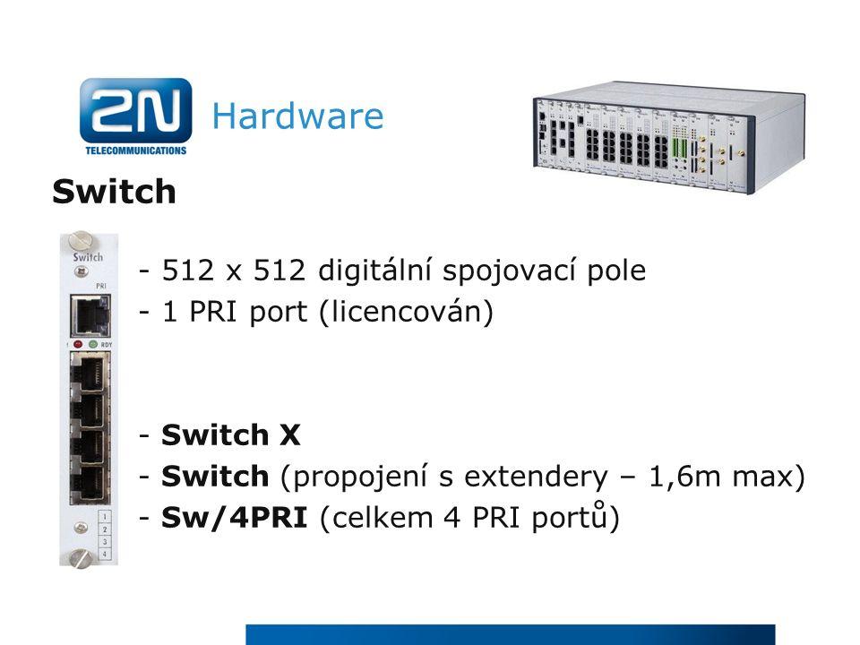 Hardware Switch - 512 x 512 digitální spojovací pole - 1 PRI port (licencován) - Switch X - Switch (propojení s extendery – 1,6m max) - Sw/4PRI (celkem 4 PRI portů)
