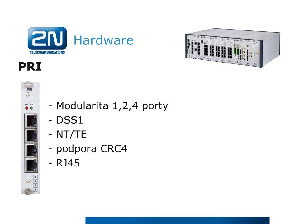 Hardware PRI - Modularita 1,2,4 porty - DSS1 - NT/TE - podpora CRC4 - RJ45