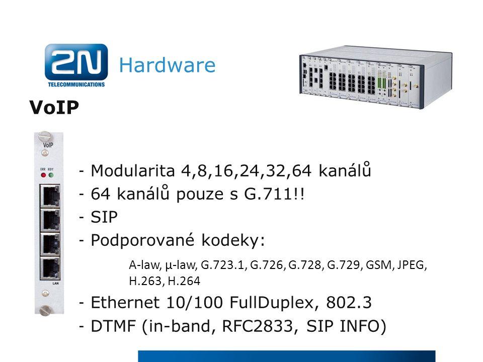 Hardware VoIP - Modularita 4,8,16,24,32,64 kanálů - 64 kanálů pouze s G.711!.