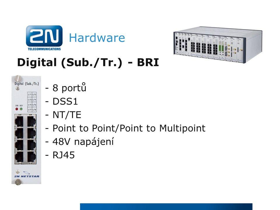 Hardware Digital (Sub./Tr.) - BRI - 8 portů - DSS1 - NT/TE - Point to Point/Point to Multipoint - 48V napájení - RJ45