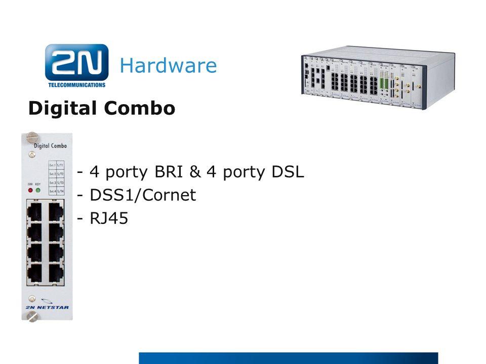 Hardware Digital Combo - 4 porty BRI & 4 porty DSL - DSS1/Cornet - RJ45