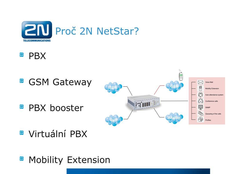 Proč 2N NetStar PBX GSM Gateway PBX booster Virtuální PBX Mobility Extension