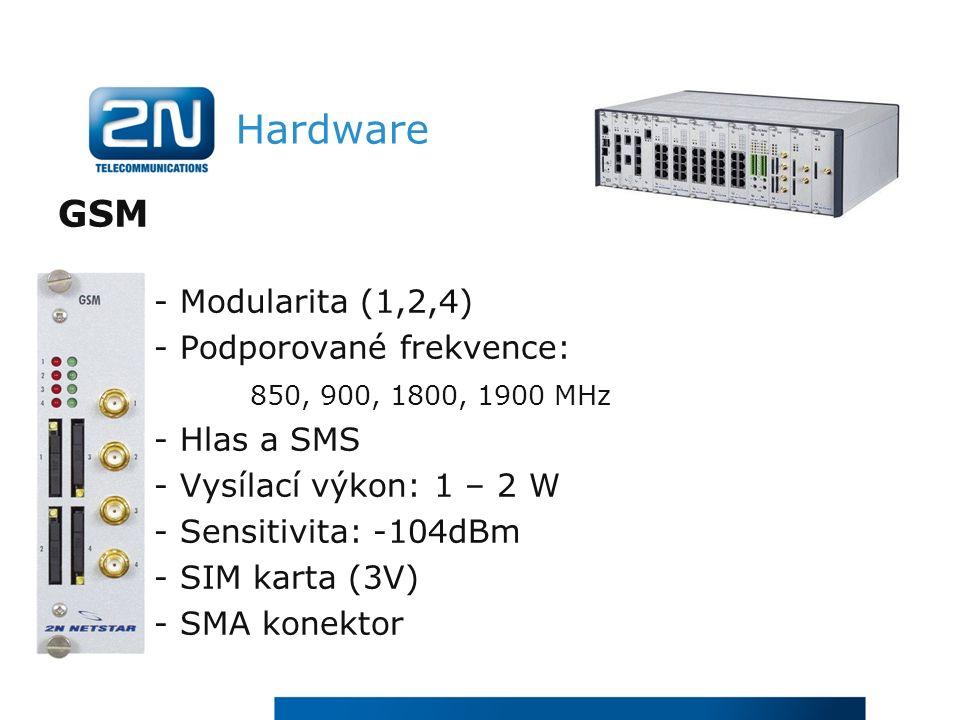 Hardware GSM - Modularita (1,2,4) - Podporované frekvence: 850, 900, 1800, 1900 MHz - Hlas a SMS - Vysílací výkon: 1 – 2 W - Sensitivita: -104dBm - SIM karta (3V) - SMA konektor