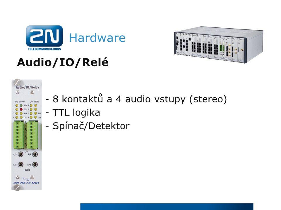 Hardware Audio/IO/Relé - 8 kontaktů a 4 audio vstupy (stereo) - TTL logika - Spínač/Detektor