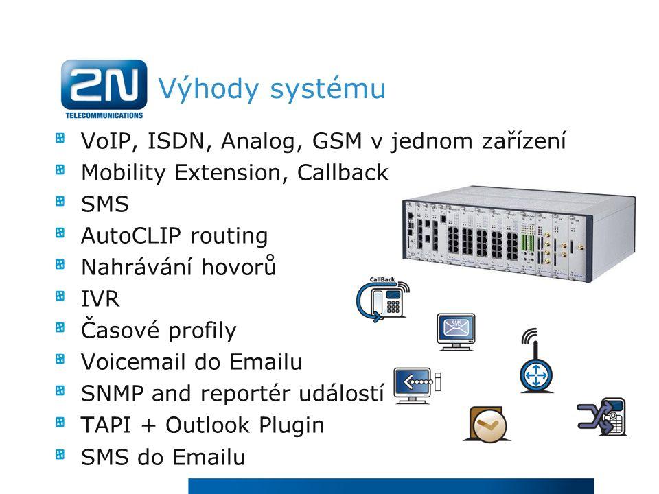 Výhody systému VoIP, ISDN, Analog, GSM v jednom zařízení Mobility Extension, Callback SMS AutoCLIP routing Nahrávání hovorů IVR Časové profily Voicemail do Emailu SNMP and reportér událostí TAPI + Outlook Plugin SMS do Emailu
