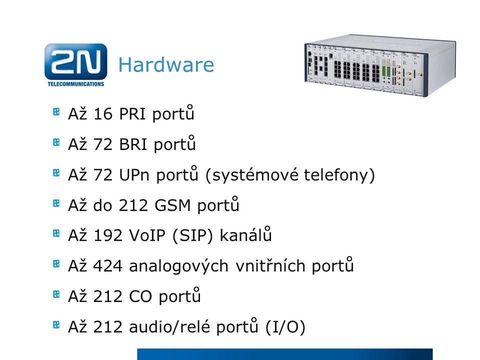 Hardware Až 16 PRI portů Až 72 BRI portů Až 72 UPn portů (systémové telefony) Až do 212 GSM portů Až 192 VoIP (SIP) kanálů Až 424 analogových vnitřních portů Až 212 CO portů Až 212 audio/relé portů (I/O)