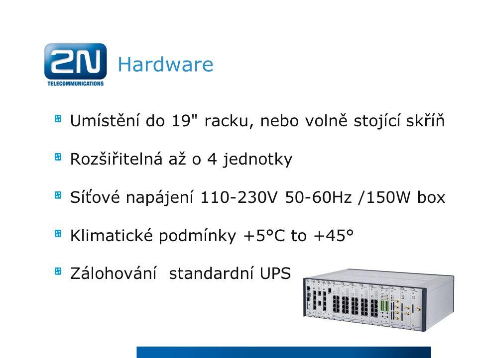 Hardware Umístění do 19 racku, nebo volně stojící skříň Rozšiřitelná až o 4 jednotky Síťové napájení 110-230V 50-60Hz /150W box Klimatické podmínky +5°C to +45° Zálohování standardní UPS