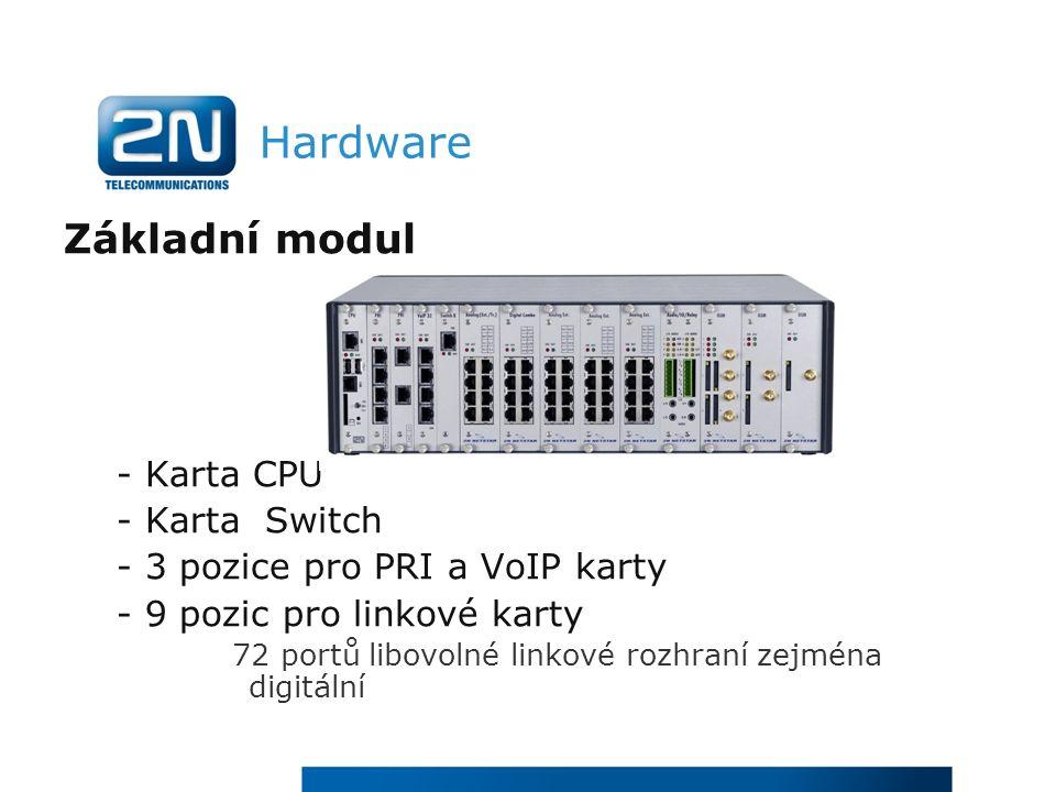 Hardware Základní modul - Karta CPU - Karta Switch - 3 pozice pro PRI a VoIP karty - 9 pozic pro linkové karty 72 portů libovolné linkové rozhraní zejména digitální