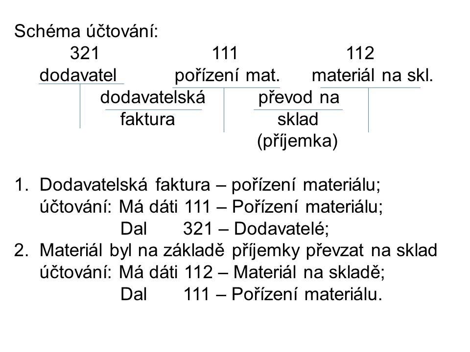 Schéma účtování: 321 111 112 dodavatel pořízení mat.