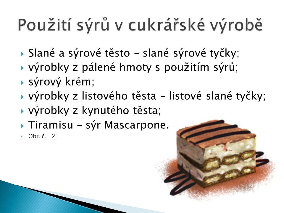  Slané a sýrové těsto – slané sýrové tyčky;  výrobky z pálené hmoty s použitím sýrů;  sýrový krém;  výrobky z listového těsta – listové slané tyčky;  výrobky z kynutého těsta;  Tiramisu – sýr Mascarpone.