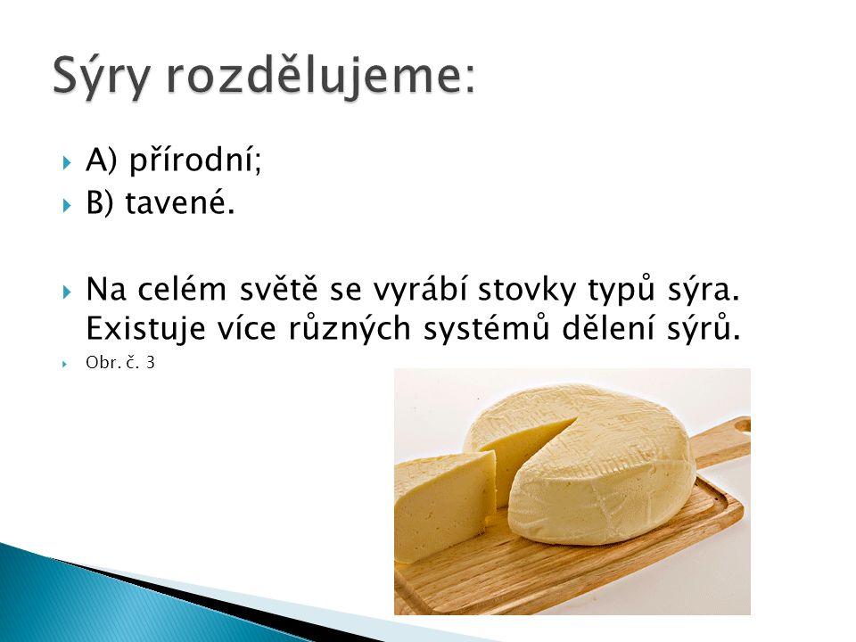  A) přírodní;  B) tavené.  Na celém světě se vyrábí stovky typů sýra.