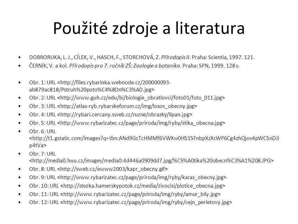Použité zdroje a literatura DOBRORUKA, L.J., CÍLEK, V., HASCH, F., STORCHOVÁ, Z.